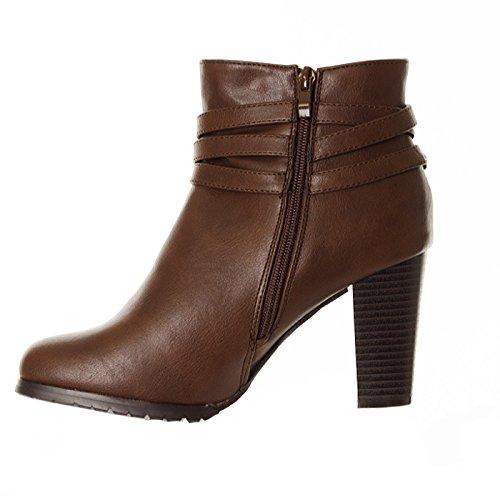 Damen Block High Brown Strap Schnalle Schuhe Abendschuhe 2 Stiefeletten Party Damen Stiefel Heel rwYpr