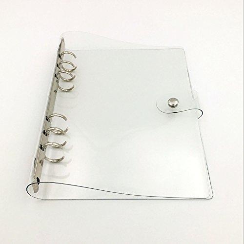Chris. W 1Pack transparente PVC blando 6-ring Binder W/diseño de cierre de botón para agenda de ring-bound páginas,...