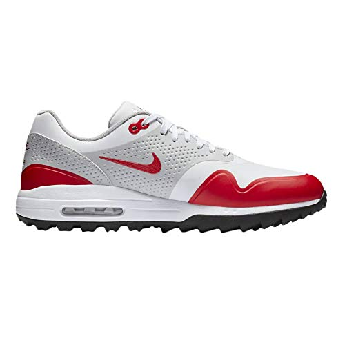 NIKE Air Max 1 G Spikeless Golf Shoes 2019 White/University Red/Neutral Gray/Black Medium 14