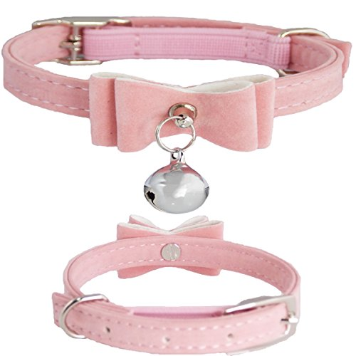"""WwWSuppliers Fully Adjustable Velvet PU Suede Leather Luxury Fashion Cute Bow & Bell Collar for Cats or Kittens (SMALL 7""""- 10"""") (Light Pink)"""