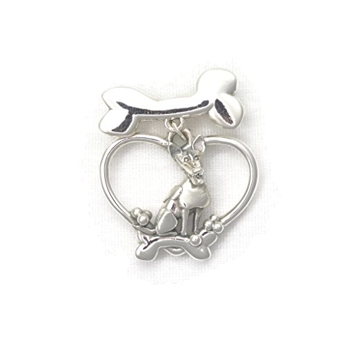 Sterling Silver Jack Russell Terrier Brooch, Jack Russell Pin fr Donna Pizarro's Animal Whimsey Collection of Fine Dog Jewelry by Donna Pizarro Designs