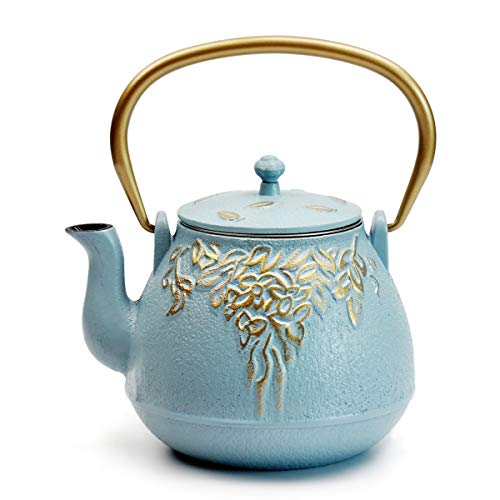 Teapot, TOPTIER Japanese Cast Iron Tea Kettle with Stainless Steel Infuser | Cast Iron Teapot Stovetop Safe [Leaf Design Teapot] Coated with Enameled Interior for 32 Ounce / 950 ml, Turquoise Blue