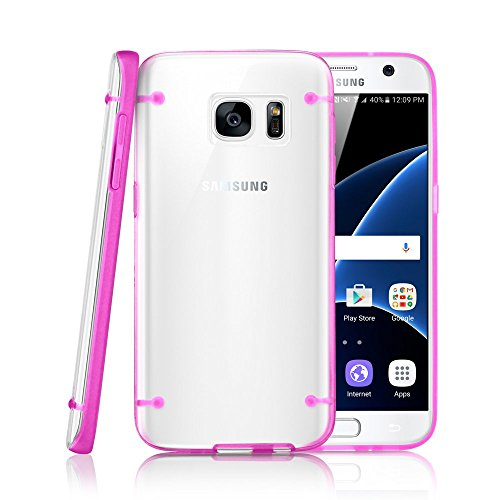 GEARONIC TM Slim Transparent Crystal Clear Hard TPU Cover Luminous Glow in the Dark Case for Samsung Galaxy S7 - Hot Pink