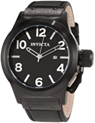 Invicta Mens 1138 Corduba Black Dial Black Leather Watch