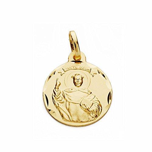 Médaille pendentif San Vicente Ferrer 18k de 16mm en or. sculpté sculptée [AA2659]