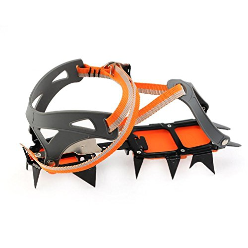 Gracefulvara 1 Pair Bundled Crampons Professional 14 point Manganese Steel Ice Gripper Ice Crampons
