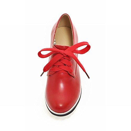 Van De Damesmode Van De Carolbar Het Populaire Comfortplatform Met Sleehak Oxfords Schoenen Rood