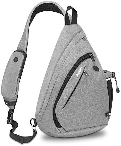 ASTEN Sling Bag, Lightweight Crossbody Bag Chest Pack Multipurpose Shoulder Backpack with Bottle Holder for Women Men Outdoor Hiking Travel Grey, Large