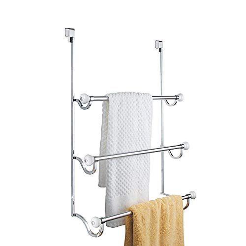 InterDesign York Metal Over the Shower Door Towel Rack, Hooks for Master, Guest, Kids
