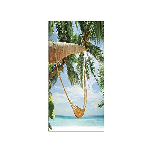 3D Decorative Film Privacy Window Film No Glue,Tropical,View of Nice Hammock with Palms by The Ocean Sandy Shore Exotic Artsy Print Decorative,Green Cream Blue,for Home&Office