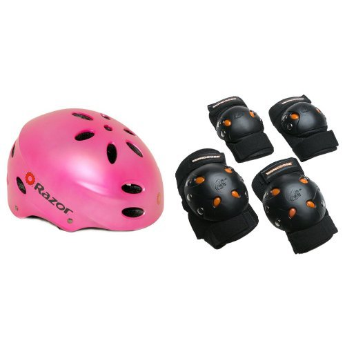Razor Youth Helmet - Razor V-17 Youth Multi-Sport Helmet (Satin Pink) Bundle