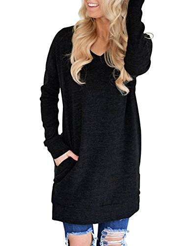 Buauty Women Long Sleeve Casual V-Neck Sweatshirt with Pockets Loose T Shirt Blouses Tops (Best Shoes To Wear With Black Leggings)