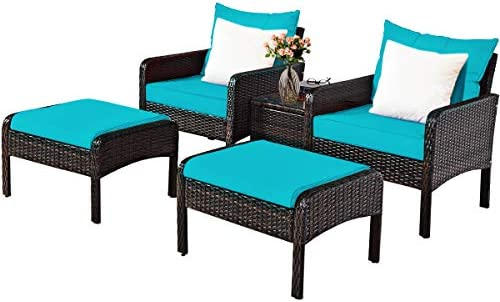 Tangkula Wicker Furniture Set 5 Pieces PE Wicker Rattan Outdoor All Weather Cushioned Sofas and Ottoman Set Lawn Pool Balcony Conversation Set Chat Set Turquoise