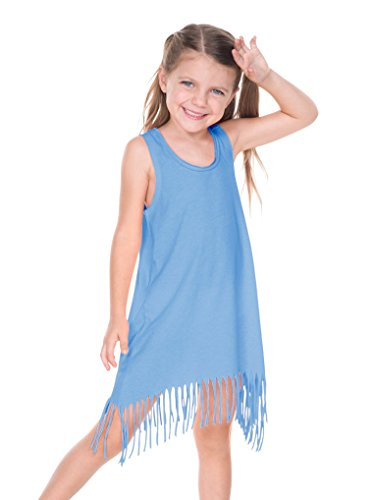 Kavio! Girls 3-6X Sheer Jersey Raw Edge Fringe Asymmetrical Tank Dress Azure 5/6