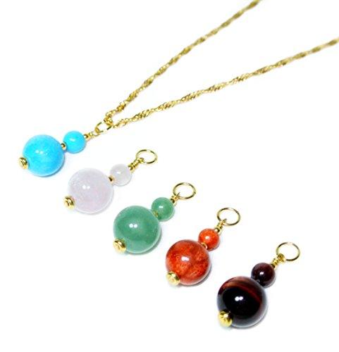 Interchangeable 5 Gemstone Drop Color Pendant Necklace (Interchangeable Gemstone Pendant)