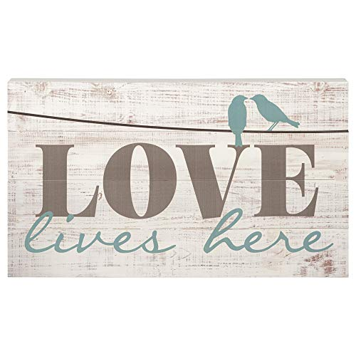 Love Lives Here Distressed 14 x 24 Wood Boxed Pallet Wall Art Sign Plaque