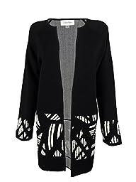 Calvin Klein Women\'s Knit Jacket, Black/Cream, Medium