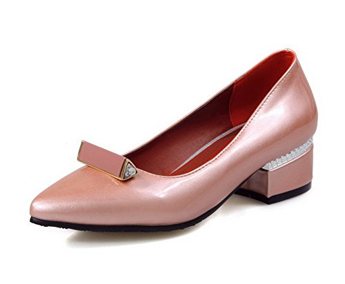 VogueZone009 Women's Pointed Closed Toe Low-Heels PU Solid Pull-On Pumps-Shoes Pink XqkiJg3R