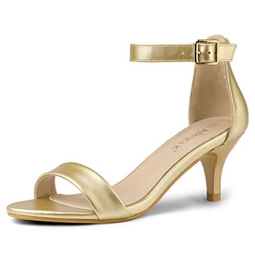Allegra K Women's Kitten Heel Ankle Strap Gold Sandals - 8.5 M US