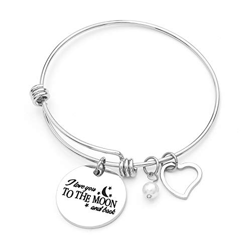 Sunflower Jewellery Love Charm Bracelet I Love You to The Moon and Back Pearl Adjustable Bangle Silver