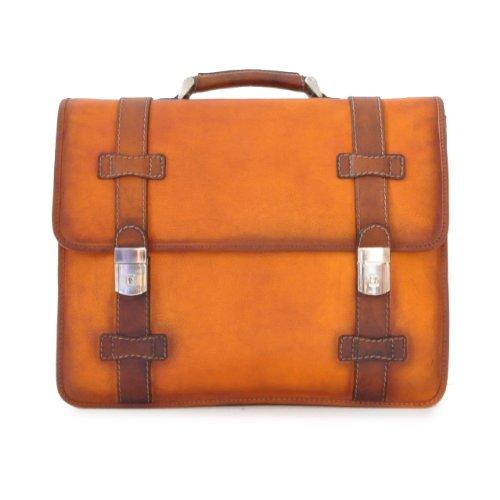Pratesi Italian Leather Vallombrosa Leather Briefcase with Shoulder Strap, Bruce Cognac