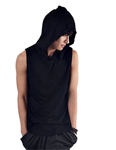 summer mens sleeveless hoodie T-shirt hooded top cotton hoodies tee Plus (Hooded Sleeveless T-shirt)