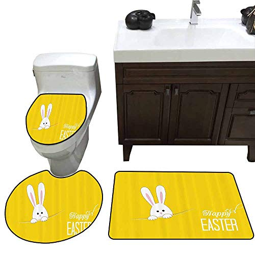 3 Piece Toilet lid Cover mat Set Yellow Decor Easter Bunny Rabbit Animal Cartoon Springtime Cheerful Fun Celebration Artwork Print 3 Piece Toilet Cover Set Yellow White ()
