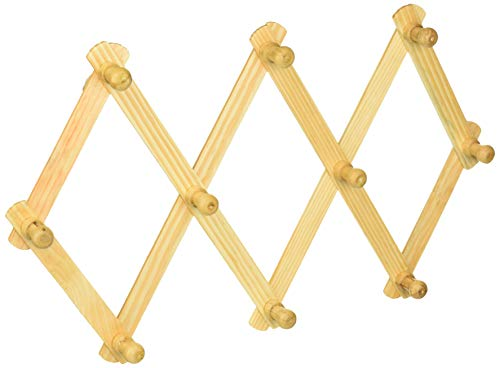 Symak 92324-3PK Lot of 3-Home-Aide Hook Wood Wall Peg Rack-Wooden Expanding Accordian Style, White