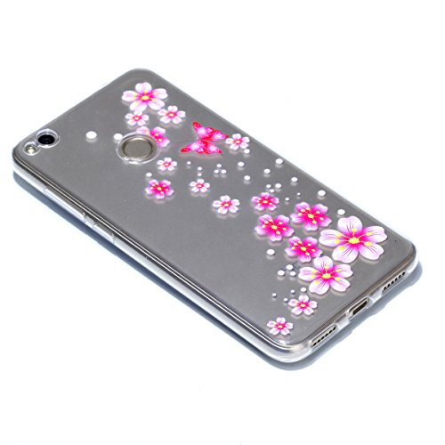 iPhone 7 Plus Custodia , Leiai Moda Soft Fiore Di Farfalla Trasparente Silicone Morbido PU Protettivo Antiurto Cover Case Shell Custodia per Apple iPhone 7 Plus