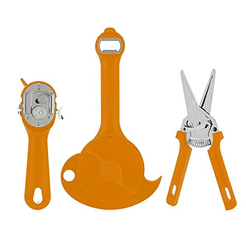 Kuhn Rikon 3 Piece Auto Safety Lid Lifter, Jar Opener, & Large Shear Set, Spice
