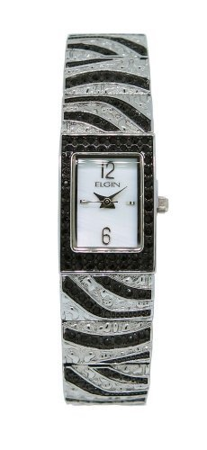 (Elgin EG8094 Women's Rectangular Analog Mother of Pearl Black Crystal Watch)