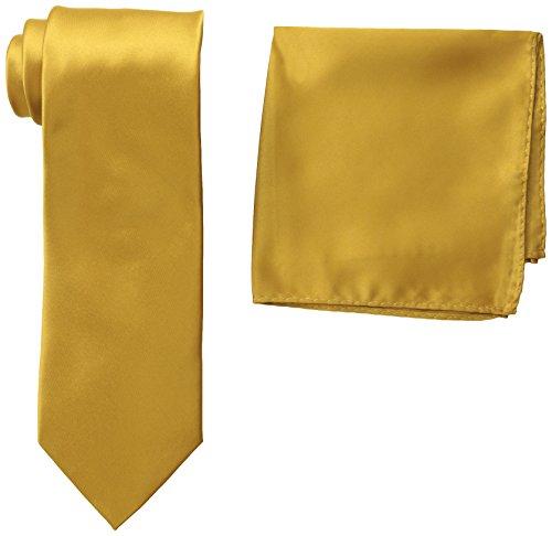 Stacy Adams Men's Satin Solid Tie Set, Gold, One Size (Polyester Gold Necktie Satin)