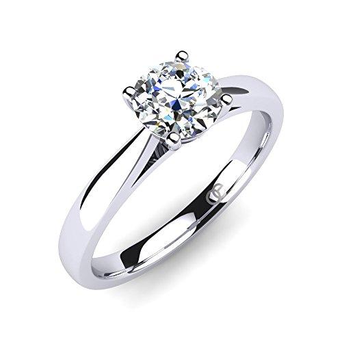 Moncoeur Ring Pour Toujours + Solitaire echtes 925 Silber Verlobungsring mit Zirkonia + SWAROVSKI + Hochzeitsring + Trauring + klassisches Design höchste Qualität für Damen Frauen Freundin (52 (16.6))