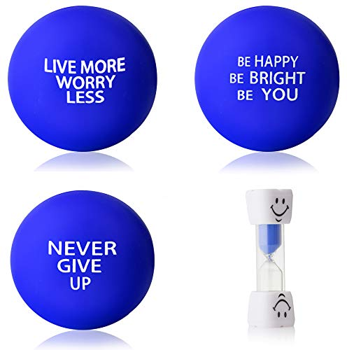 InsidersPro Stress Ball Complete Bundle: Motivational Squeeze Toys + Sand Timer | Hand Exerciser Balls to Relieve Tension/Joint Pain & Strengthen Grip - Great Gift Idea for Kids & Adults ()