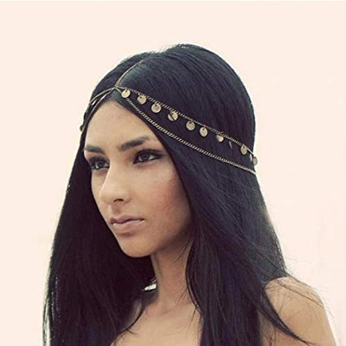 Catery Headbands Jewelry Sequins Head Chain Headpiece Fashion Hair Accessories for Women and Girls]()
