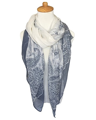 GERINLY Women's Scarves: Fashion Color Paisley Print Oblong Wrap Scarf (Grey)