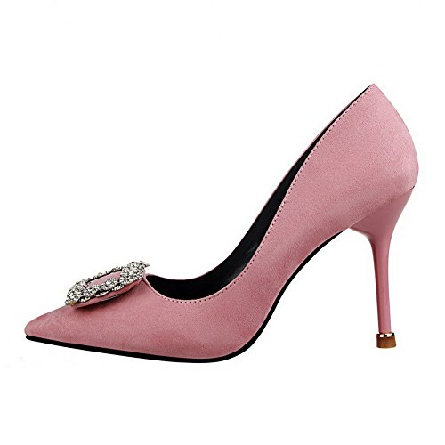 Women's Pink On Heels Toe High Solid Suede Pointed 37 Imitated WeiPoot Pull Shoes Pumps d7wfdq