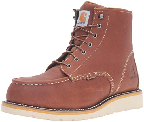 Tan Safety Steel Toe Boots - Carhartt CMW6275 Men's 6-Inch Waterproof Tan Wedge Boot Steel Toe Work, 11 M US