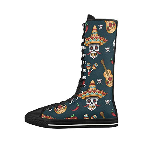 D-Story Mexican Sugar Skulls Lace Up Tall Punk Dancing Canvas Long Boots Sneakers Shoes for Women