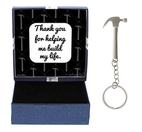 Dad Thank You Helping Me Build My Life Birthday Gifts Dad Daughter Gifts Hammer Keychain & Gift Box Bundle (Best Gift For My Dad)