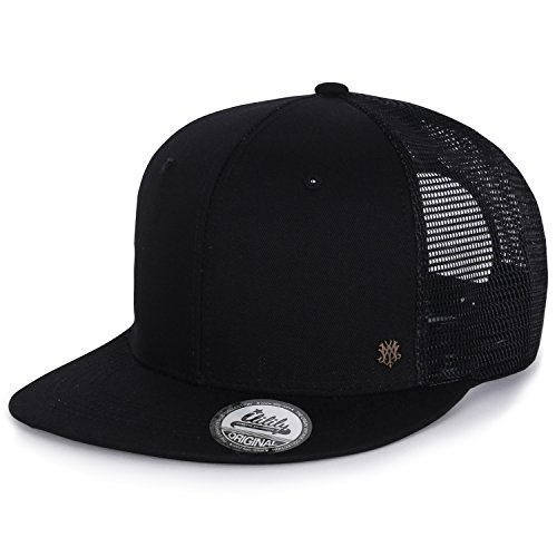ililily Extra Large Size Solid Color Flat Bill Snapback Hat Blank Baseball Cap, Black