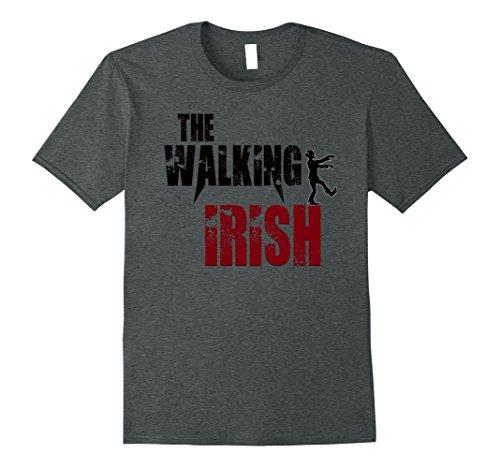 Mens Walking Irish gift t shirts Ireland zombie b day costume tee XL Dark Heather