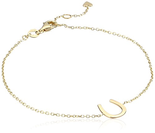 - 14k Italian Yellow Gold Horseshoe Charm Bracelet, Adjustable 6.5