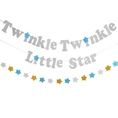 Silver Twinkle Twinkle Little Star Banner With 1Pcs Sparkling Star Garland -Baby Shower Birthday 1st Birthday Party Decorations Supplies