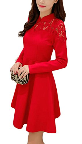 Elegant Red Sleeve Dress Evening Jaycargogo Women's Lace Floral Cocktail Long Mini CT5T7x4n