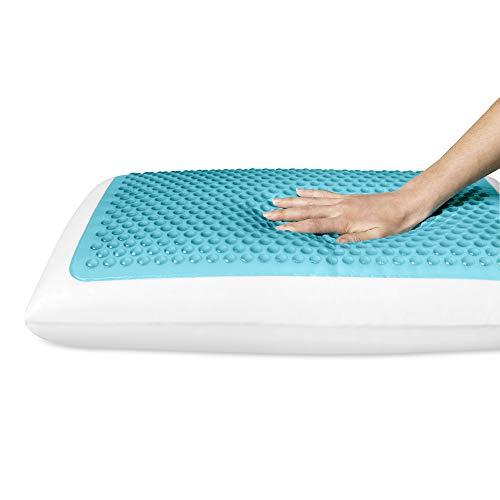 Comfort Revolution Originals Standard Blue Bubble Gel + Memory Foam Pillow, White