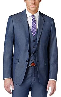 Calvin Klein Extreme Slim Blue Solid 2 Button Flat Front Men's Sport Coat