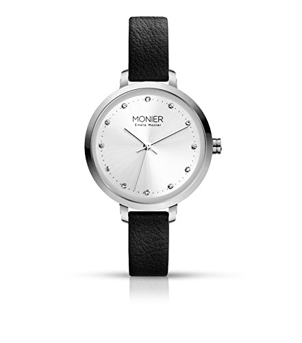 - Emelia Monier Crystal Icon Silver Tone Women's Watch with Black Leather Strap EML004-01BL