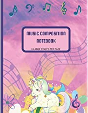 Music Composition Notebook: Glossy Unicorn Themed in Pink, 8.5x11 size, 80 pages, 6 large staffs per page
