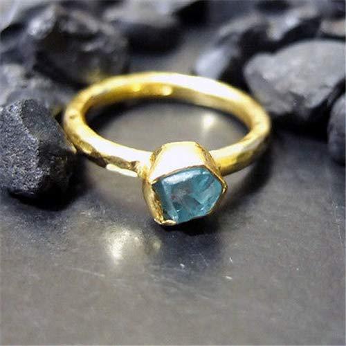 Apatite Designer Ring - Ancient Design Handmade Hammered Designer Apatite Stack Ring Gold over 925K Sterling Silver